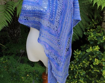 Purple and Periwinkle Striped Hand Knit Pure Merino Wool Lace Shawl or Shawlette