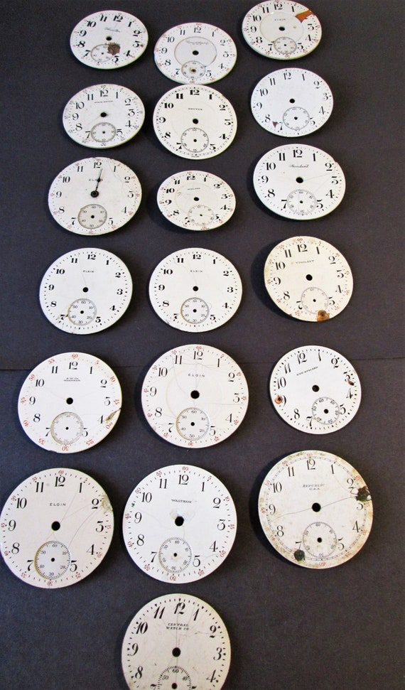 19 Assorted Antique and Vintage Porcelain Pocket Watch Dials for your Watch Projects - Jewelry Making - Steampunk Art