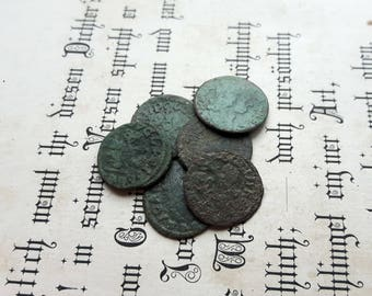 Lot of  Europe Poland,Lithuania Casimir Medieval Coins 1600's,Old Medieval Copper Coin Casimir Boratinka