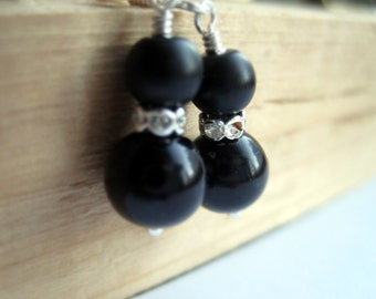 Jet Black Pearls and Rhinestone Earrings, Bachelorette Party Earrings, Pearl Dangle Earrings, Cocktail Party Earrings