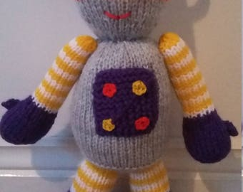 Fab Rocky the Robot Hand Knitted Toy (Made from an Amanda Berry pattern).