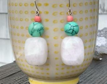 White Jade, Turquoise Dangle Earrings