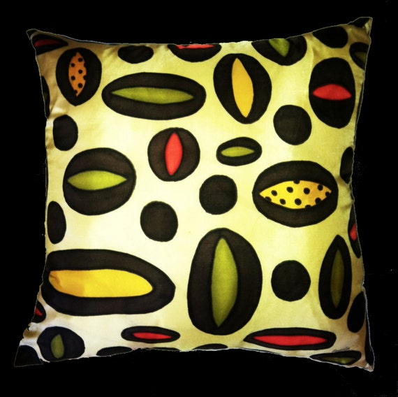 RETRO -Hand Painted Decorative Silk Pillow