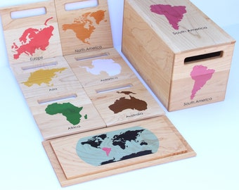 SET OF 7 Montessori Continent Boxes