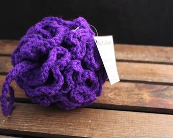 Purple bath poof, Purple bath puff, bath poof, bath pouf, scrubby, shower poof, shower pouf, shower puff, crochet pouf, crochet loofah