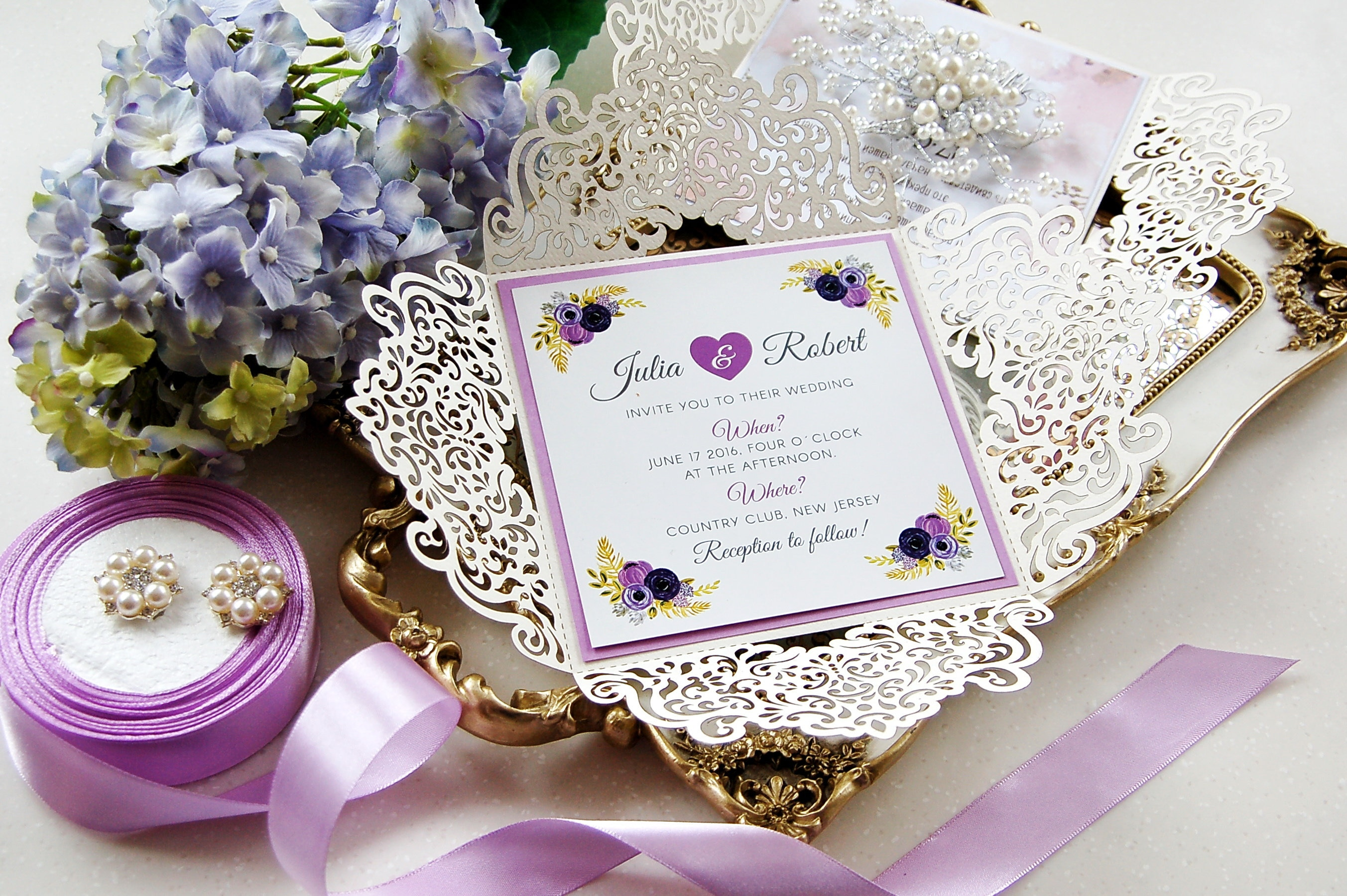 Laser Cut Invitations Set of 4 Wedding RSVP Card Template