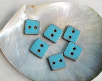 Ceramic buttons, Turquoise blue square buttons, Handmade sewing buttons.