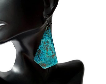 Turquoise Statement earrings, patina earrings, copper earrings, long earrings, geometric earrings