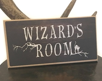 Wizards or Witches Room hanging sign