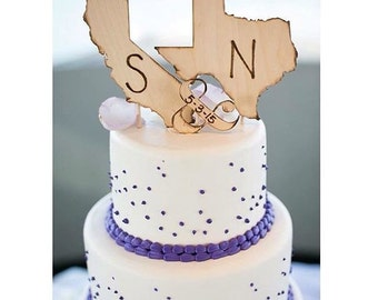 Long Distance Wedding State Cake Toppers with Initials Shaped in YOUR State Wedding Date Ampersand Wedding Date Organic Natural Display USA