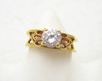 Vintage Rhinestone Ring Double Band Statement Jewelry