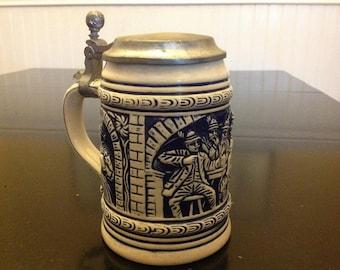 Vintage Ornate German Beer Stein With Metal Lid