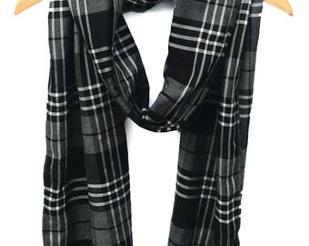 Black or Navy plaid scarf