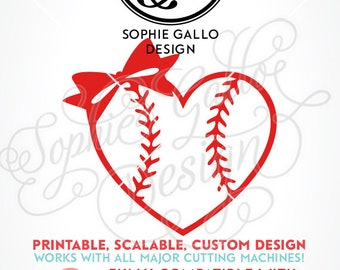 Baseball Bow Heart SVG DXF PNG digital download files Silhouette Cricut vector clip art graphics Vinyl Paper Cutting Machine Screen Print