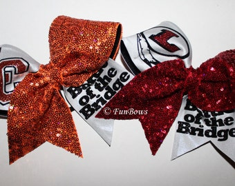 Custom Battle of the Bridge Cheerleading Bows by Funbows !
