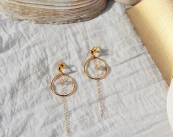 Drop earrings gold plated & stone Quartz rutile - Christmas gift idea for woman, jewelry fine delicate Myo jewel by