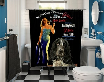English Cocker Spaniel Art Shower Curtain, Dog Shower Curtains, Bathroom Decor - Gilda Movie Poster