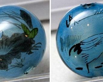 Reverse Painted Hollow Glass Bead, 30mm pkg of 1. B10-0008D(e)
