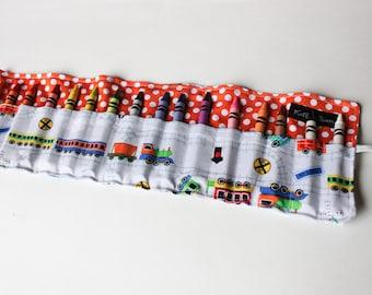 Train Crayon Roll-Train Birthday Gift-Crayon Holder-Boy Train Party Favor-Summer Car Travel Activity-Trains-Crayons-Kid Travel Activity