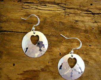 Heart Earrings, Heart Jewellery, Handmade, Sterling Silver, Hammered Silver, Hearts, Heart Drops, Valentine Gift, Romantic Gift, Planished.