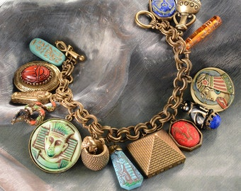 Egyptian Charm Bracelet, Egyptian Jewelry, Egyptian Costume, Ancient Egypt, King Tut, Historical Jewelry, Eye of Horus, Cleopatra BR305