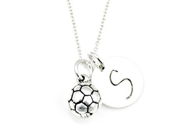 SOLID SOCCER BALL Initial Necklace in Sterling Silver *