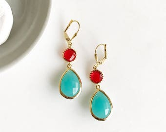 Earrings Turquoise and Red Dangle Earrings. Bridesmaids Earrings.  Turquoise Jewelry. Wedding Jewelry. Summer Dangle Earrings. Gift.