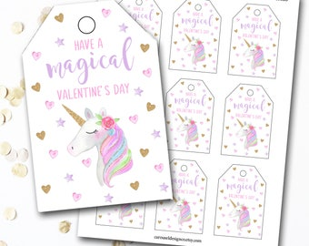 Unicorn Valentine's Day Tag, Unicorn Valentines Tag, Unicorn Tag, Unicorn Party, Unicorn Favor, Unicorn Favor Tags, DIY Printable