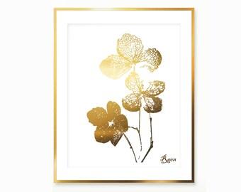 Clover Art Print , Gold Four Leafs Clover Print , Digital Clover Print , Gold Clover Painting , Downloadable Botanical Print Dry Leaf Print