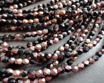 4mm Fire Polished Beads - Matte Black Apollo - Czech Glass Beads