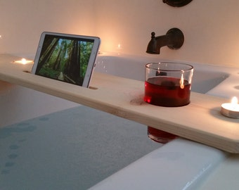 Bath Tub Tray- Cup Hole / Sliver woodworking / Bath tub caddy, cup holder,