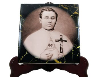 Catholic Saints serie - Saint Damien of Molokai - handmade ceramic tile - Father Damien -  St Damien - catholic saint - saint art
