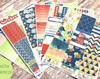 Planner Stickers - Fits Erin Condren Vertical - Tropical Summer Planner Stickers - Ala Carte Weekly Sticker Kit - Summer Planner Stickers