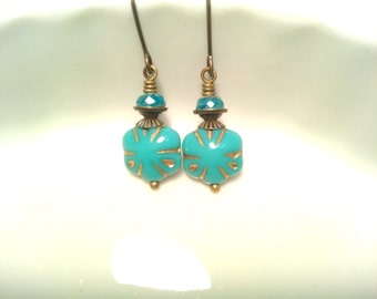 Turquoise Earrings Beaded Earrings Art Deco Flower Earrings Czech Turquoise Earrings Turquoise Jewelry Simple Vintage Look Ten Dollar Gift
