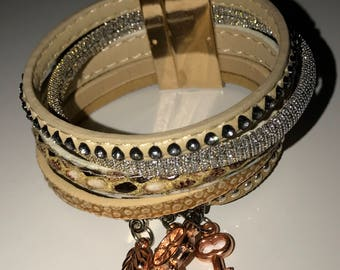 Textured Leather Cuff Bracelet with Copper Charms