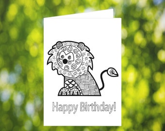 Birthday Coloring Card: Printable Coloring Birthday Card - Birthday Card Download - Lion Card - Kids Zentangle Birthday Card - for kids