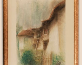 Old House Original Soft Pastel Painting With Frame