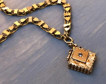 Antique Victorian Gold Locket Fob Watch Chain Necklace Vintage Jewelry Gift for Her