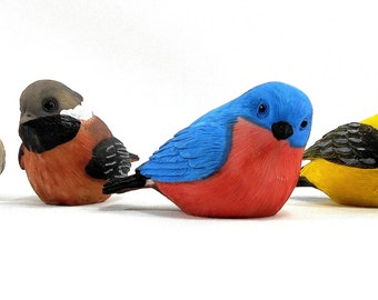 Four Colorful Baby Bird Figurines