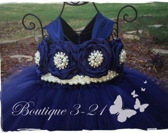 Navy Blue Flower Girl Dress, Navy Blue tutu dress, Navy Blue Flower Girl Tutu Dress, Blue Flower Girl Dress, Blue Tutu Dress