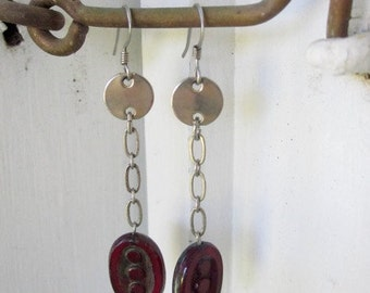Vintage Chain and Ruby Czech Glass Earrings