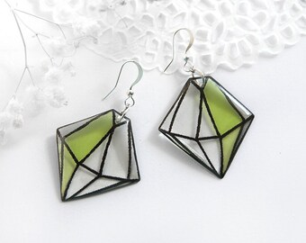 Diamond crystal earrings Green jewelry lime earrings Sacred jewelry Faceted earrings Best friends gift for wife Affordable gift under 25