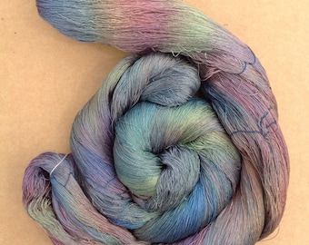 Hand Dyed Silk Yarn, Spun Silk Yarn, Weaving, Lace Knitting, 60/2 weight, No.53 Spruce
