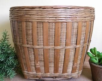 Large Wide Woven Basket Planter