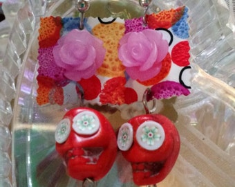 Day of the Dead, orange sugar skull, flowers dangle earrings
