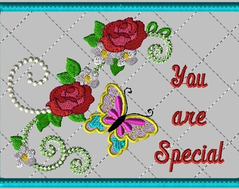 """Machine Embroidery Design-ITH-Mug Rug-""""You are Special"""" with Butterfly and Roses includes 2 sizes, 5x7 and 6x10 hoops"""