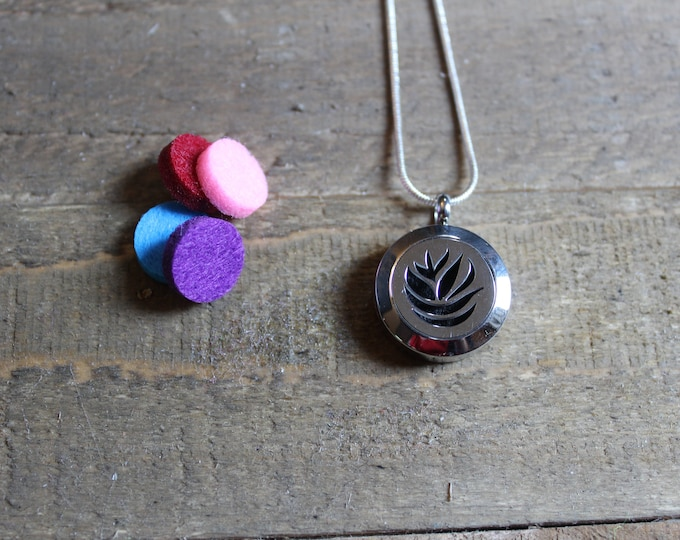 Stainless Steel Aromatherapy Necklace    Essential Oil Diffuser Necklace   Scent Locket   Aromatherapy Necklace   ESC Flower Power 20mm