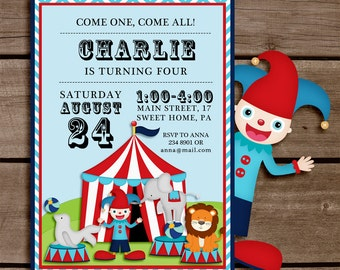 Circus Printable Invitation - Personalization - Custom - birthday printable