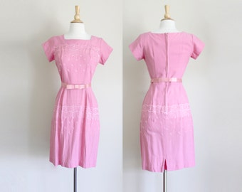 1960s Pink Wiggle Dress | Floral Embroidered Dress | Lace Embroidered | Small