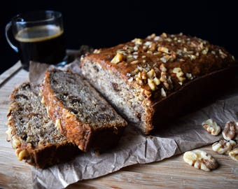 Banana Bread With or Without Nuts - Vegan Dairy Free Egg Free